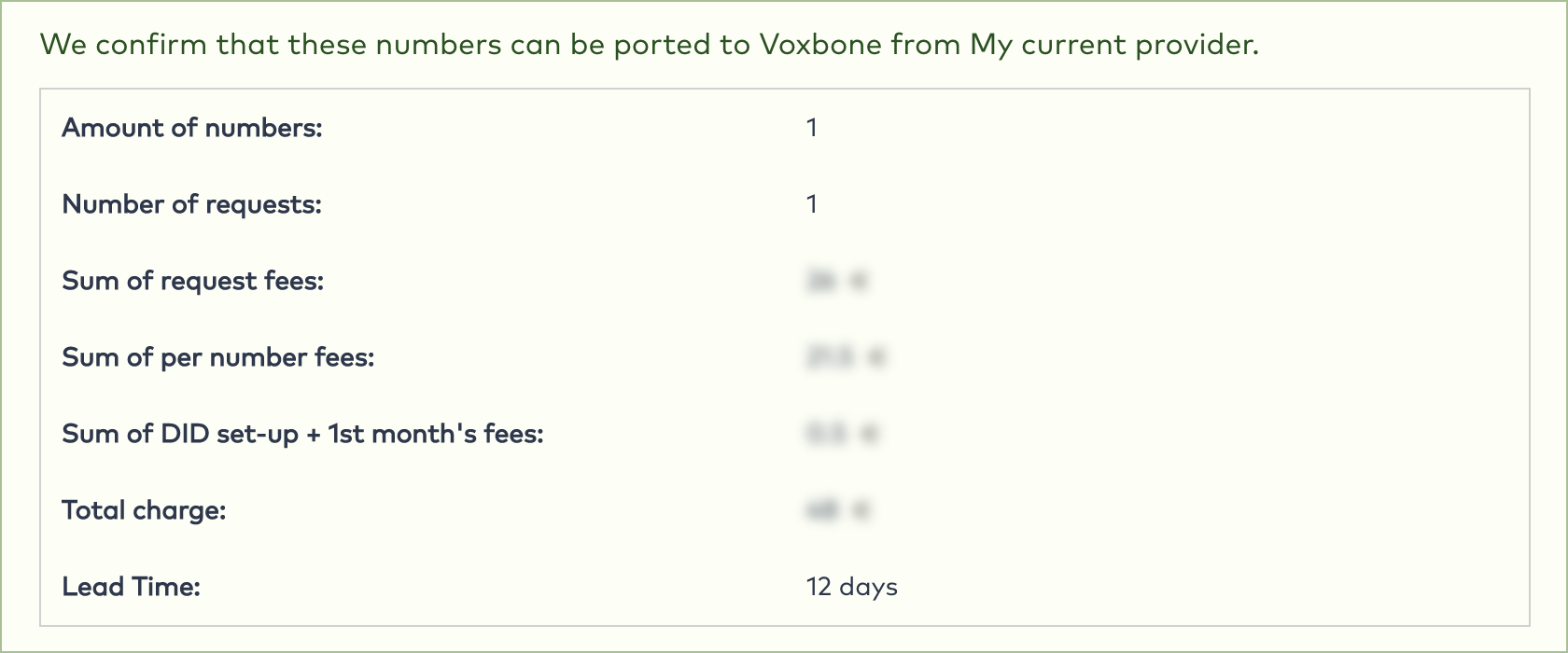 Porting to Voxbone, step 3